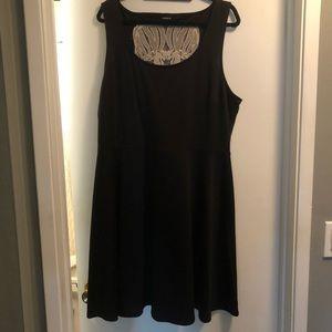 Black Umpire Waist, Skull Lace Backed Dress
